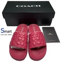 $128 NIB SIZE 5 WOMEN Coach ULI Quilted Logo Sport Slides Sandals Hyacinth Pink - $89.09