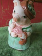 Salamander Pottery 1985 Porcelain Bell Pig Momma with Baby New Mother Gi... - $19.80