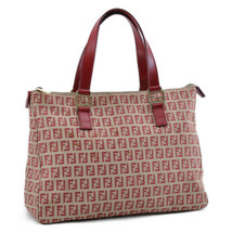 FENDI Zucchino Canvas Hand Bag Red Auth 8892 - $210.00