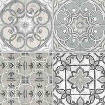 Floral Mosaic Tile Wallpaper Grey Gray Prepasted Peelable Norwall Wallco... - $36.99