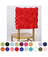 3D Rose Satin Chair Cap Slipcover Square Top Slipcover 5PCS TkVormart (R... - $32.67