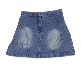 Esprit Girls Distressed Blue Jean Ruffle A-Line Skirt Youth Size 10  - $12.86
