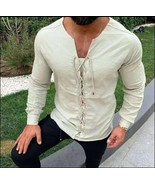 Early Norseman Medieval Viking Laced Up Long Sleeve Ivory Tunic Shirt - $58.95