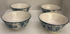 Royal Norfolk Blue Flower CEREAL/SERVING Bowl Set Of4-Micro Safe-NEW-RARE-SHIP24 - $49.38