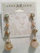 New Anne Klein Rhinestone Gold Beaded Designer Earrings - $15.99