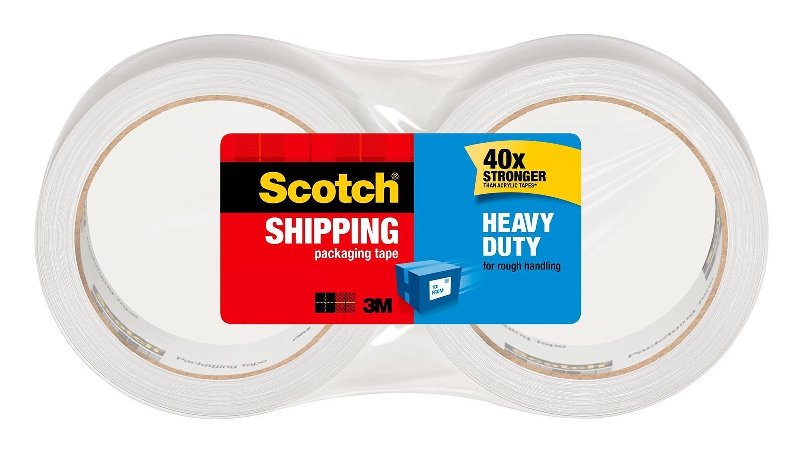 "Scotch Heavy Duty Shipping Packaging Tape, 3"" Core, 1.88"" x 54.6 Yards, 2 Rol..."