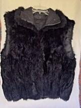 Fur Vest Size Medium Black Leather Collar Zipper Vintage VTG Soft Sleeve... - $24.75