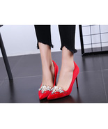 81H005 beautiful pointy pumps with pearl & rhinestones,US Size 4-8.5, red - $88.80