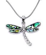 Dragon Fly Coquille D'Ormeau Pendentif Jewelled Collier Cadeau en Boîte - $23.45