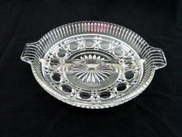 Indiana Glass Windsor / Royal Brighton Pattern Handled Round Divided Rel... - $12.75