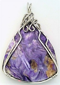 Charoite Stainless Steel Wire Wrap Pendant 4