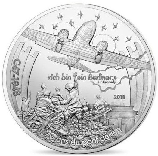 2018 10 Euro France Silver Proof Coin Dakota C47 Berlin Airlift Anniversary