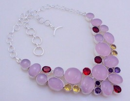 Rose Quartz-Amethyst-Garnet Silver Overlay Necklace Jewelry Fo-122-3_135 - $27.02