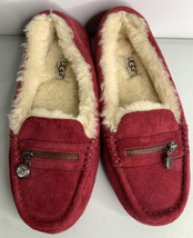 UGG Australia Womens Burgundy Suede Moccasin Slipper Shoes Size 7 - $42.98