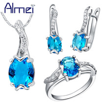 Wedding Jewelry Set Silver Blue Cubic Zirconia Necklace And Earring Ring... - $14.68