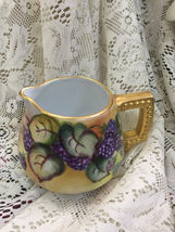 Naomi Bullock Cider Pitcher w/ Grape Design & Gold Moriage Handle - $57.09