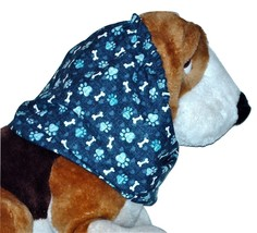 Navy Teal Paw Prints Bones Cotton Dog Snood by Howlin Hounds Sz Puppy RE... - $10.50