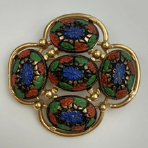 Sarah Coventry Old Vienna Brooch Pin Vintage Signed Gold Tone Glass Flor... - $24.70