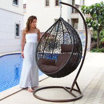 Luxury Hanging Hammock Porch Swing Chair w/Stand Patio Outdoor Swinging ... - $598.98