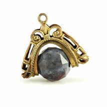 Victorian Brass Fob Spinner Pendant  Purple Faceted Agate Stone - $39.96