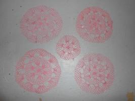 "Vintage Set Of 5 Crochet Doily Place Settings Placemats 14"" 8"" - $19.99"