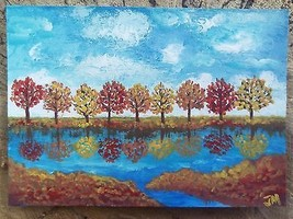 ACEO Original OOAK Painting Autumn Reflections ... - $23.75