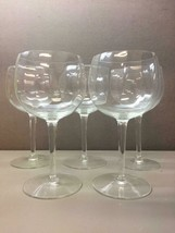 Wine Glasses Set of 5 Gently Ridged Burgundy Red Wine Glasses - $37.61