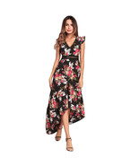 AOVEI Black Floral Print Chiffon Deep V High Low Night Out Long Beach Dress - $29.99