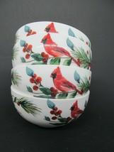 """Winter Cardinal Mikasa Fruit Dessert Sauce Bowls 4.5"""" Christmas Holidays... - $47.53"""
