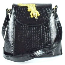 Vintage 1990s Luxe Black Faux Crocodile Leather Shoulder Bag Purse Satch... - $39.59
