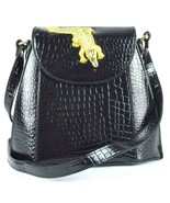 Vintage 1990s Luxe Black Faux Crocodile Leather Shoulder Bag Purse Satch... - $39.59