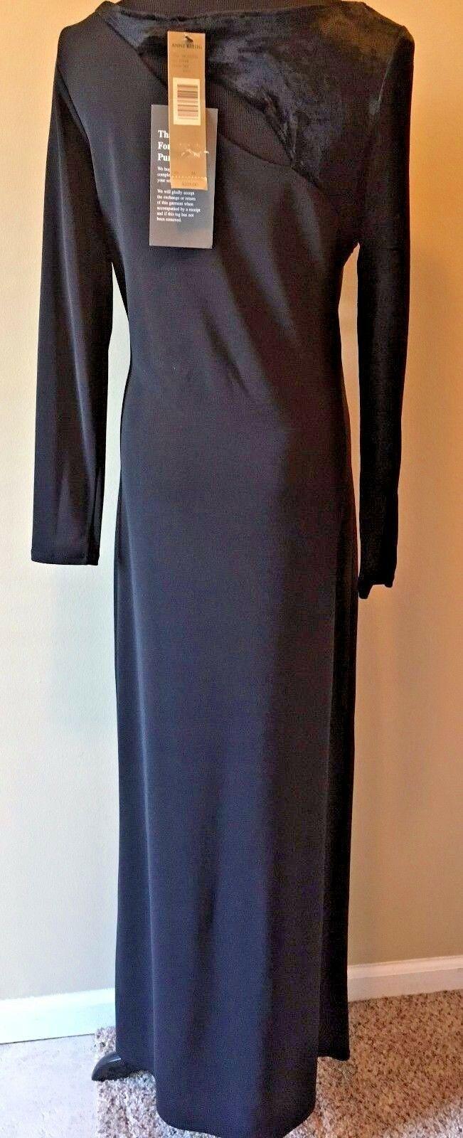Anne Klein Black Velvet & Rayon Cutout Long Formal Dress size S M NWT $225 DS7 image 5