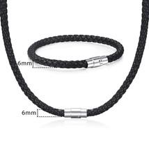 Davieslee Jewelry Set For Men Women Leather Bracelet Necklace Set Black Brown Br - $20.50