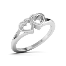 Solid 18k White Gold Heart Ring Anniversary Ring Gift Dual Heart Ring Fr... - $529.99