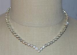 Avon MN Clear Cubic Zirconia Rhinestone Choker Necklace V Shape - $19.80