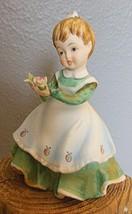 Vintage Girl Figurine Lefton KW 340A Green Dress Strawberry Apron Bouque... - $15.00