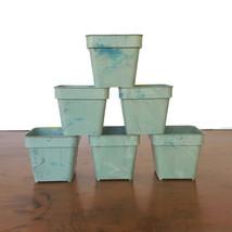 Vintage Flower Pot Planter Seed Starter Plastic Green Swirl Mid Century ... - $32.62