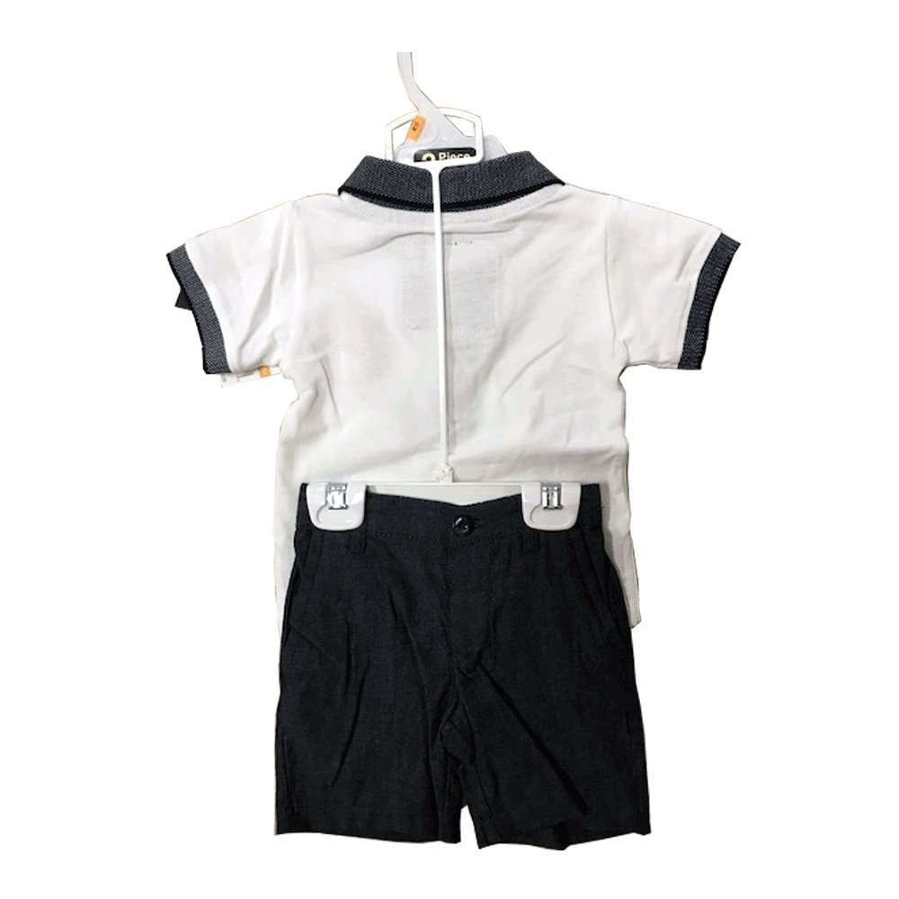 US POLO 2 PIECES BABY SET 12-24 MONTHS (18 MONTHS, WHITE POLO/NAVY)