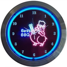 "Barbecue Bbq Pig Beer Bar Pub Neon Clock 15""x15"" - $59.00"