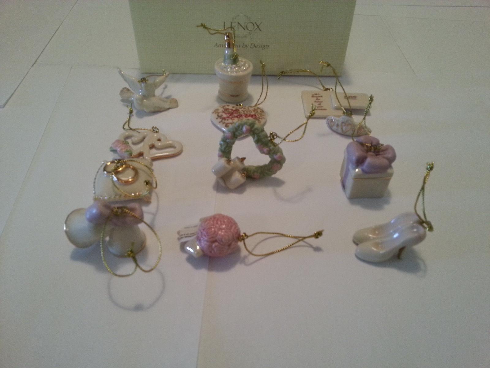 Lenox Wedding Miniature Tree Ornaments Set Anniversary Bridal Dove Heart NEW