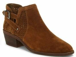 Vince Camuto Pamma Suede Buckle Block Heel Booties, Multipl Sizes Browm VC-PAMMA - $99.95