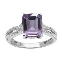 925 Sterling Silver Amethyst Single Stone Split Shank Prong Set Ring - $27.99