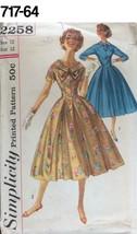 VTG Sewing Pattern Simplicity #2258 Size 12 Bust 32 Dress 1957 Full SKirt - $14.51