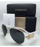 New VERSACE Sunglasses VE 2150-Q 1341/87 Gold & White Aviator Frames Gre... - $299.95