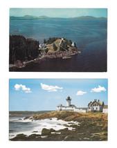 2 Lighthouse Postcards Eastern Point Light Gloucester MA Owls Head Light ME - $5.99