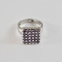 Anillo de Plata 925 Rodiado con Cuadrado con Cristales Violeta Talla 16 Redondo image 1