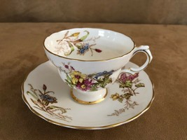 Rosina vintage china tea cup & saucer coffee wildflower floral spray 4847 - $29.50