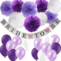 Bridal Shower Decorations Set- Bride To Be Banner White Lavender Purple ... - £19.45 GBP