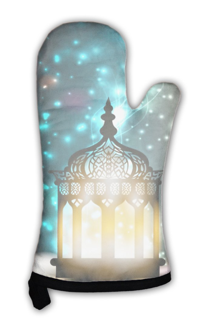 Oven Mitt, Intricate Arabic Lamp With Lights On Shiny 10