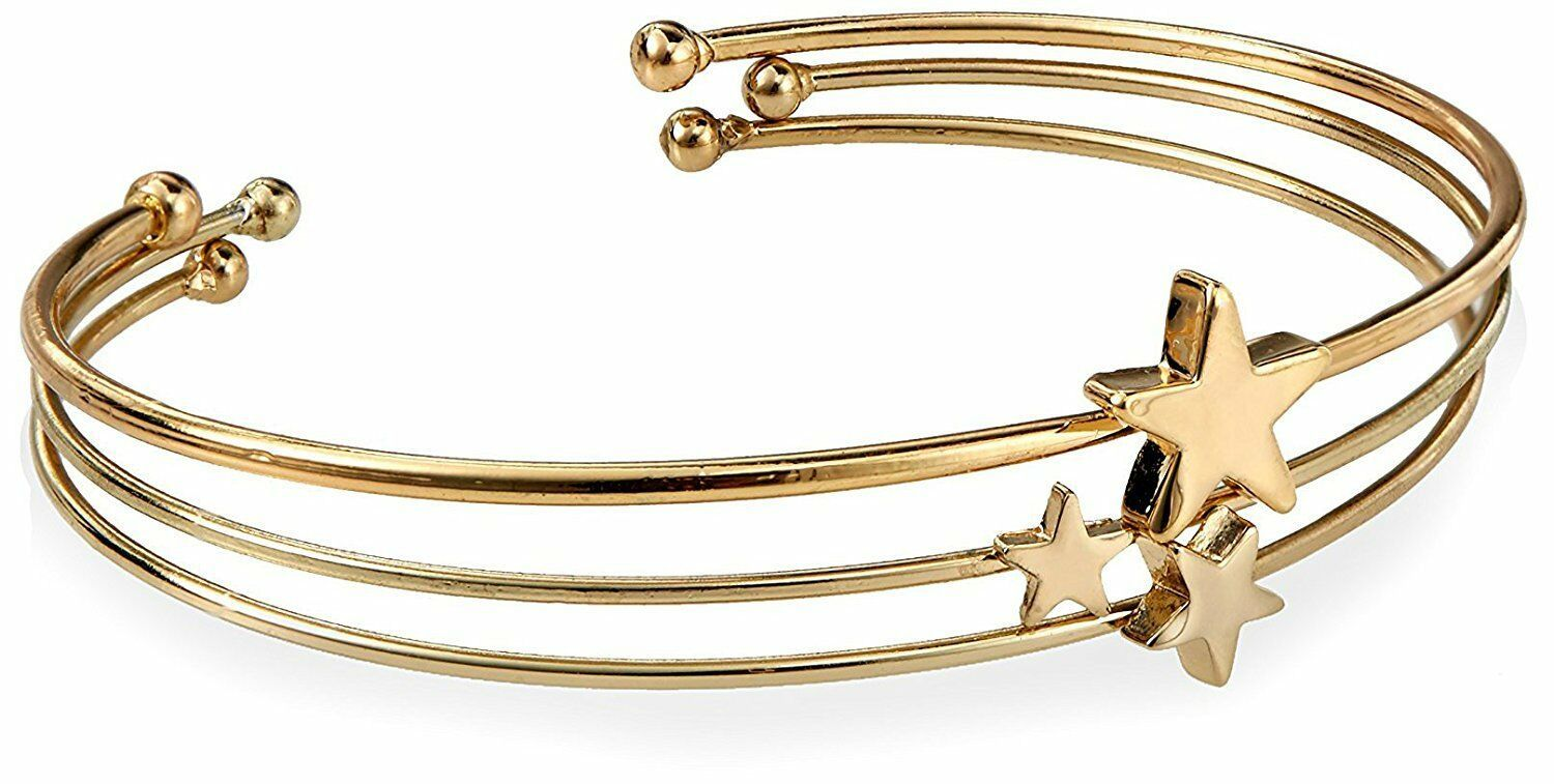 Fortuni Gold Plated Triple Star Adjustable Open Bangle Cuff Bracelet